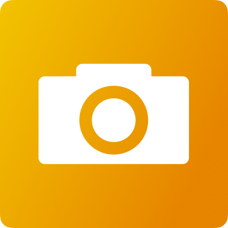 Yellow background with white camera icon.