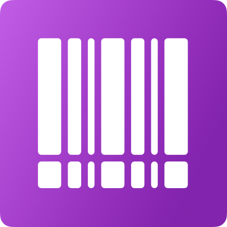 White bar code symbol on a purple background.