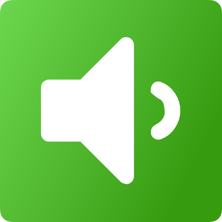 White speaker icon with green gradient background.