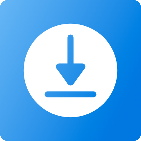Icon with download down arrow on a blue background.