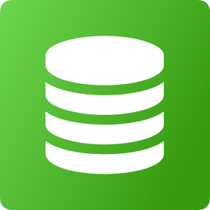 Stacked round objects representing data. on a green background.