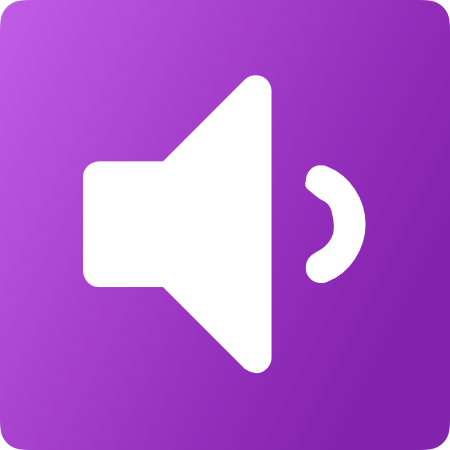 purple background with white speaker icon.